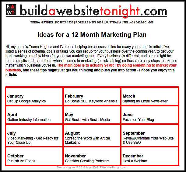 12 marketing tips 12 month marketing plan 12 Marketing Tips for Your Business This Year